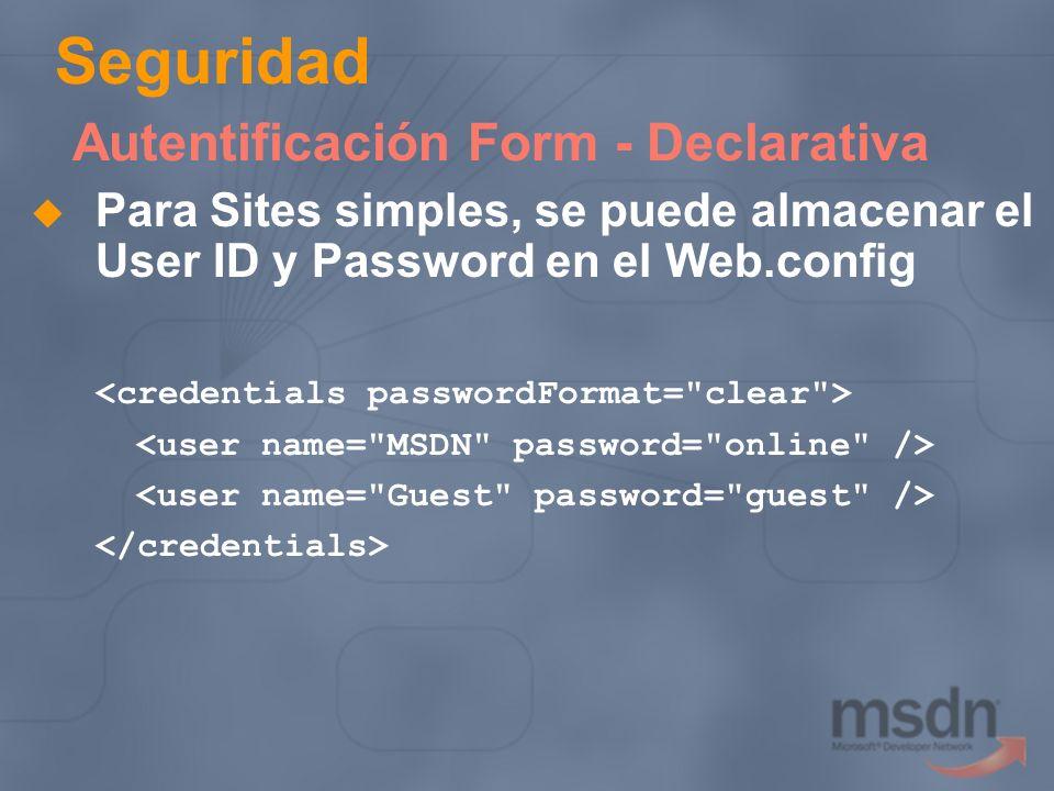 Seguridad Autentificación Form - Declarativa
