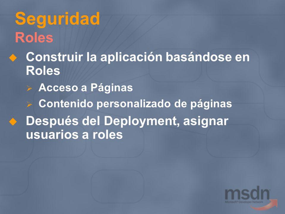 Seguridad Roles Construir la aplicación basándose en Roles
