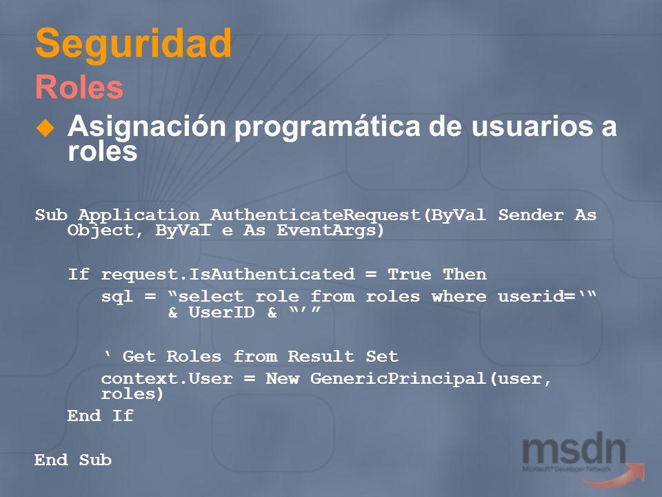 Seguridad Roles Asignación programática de usuarios a roles