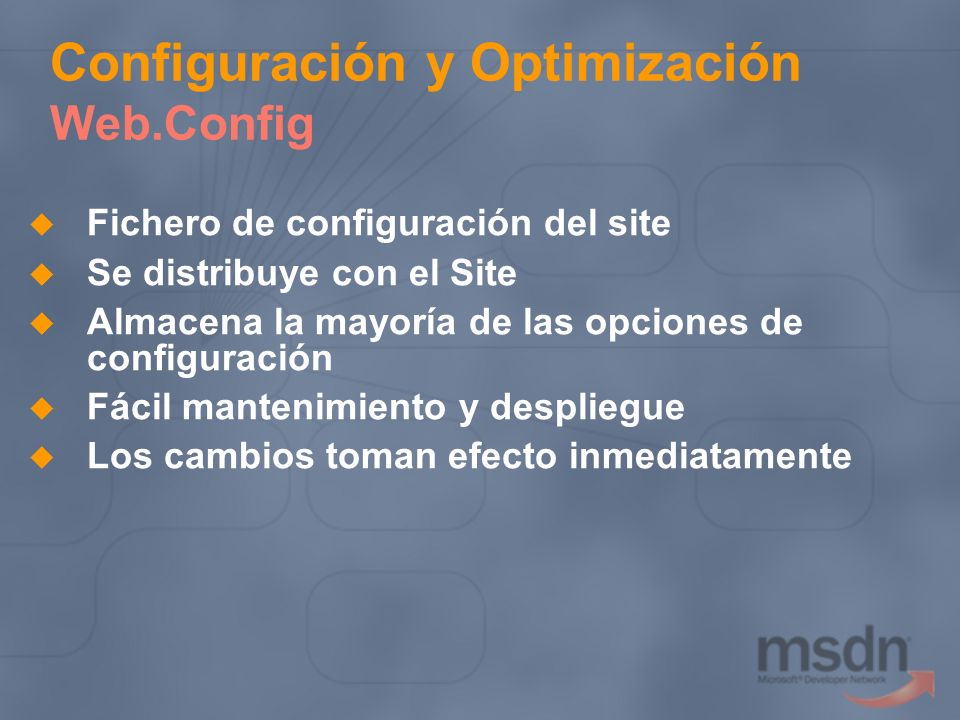 Configuración y Optimización Web.Config