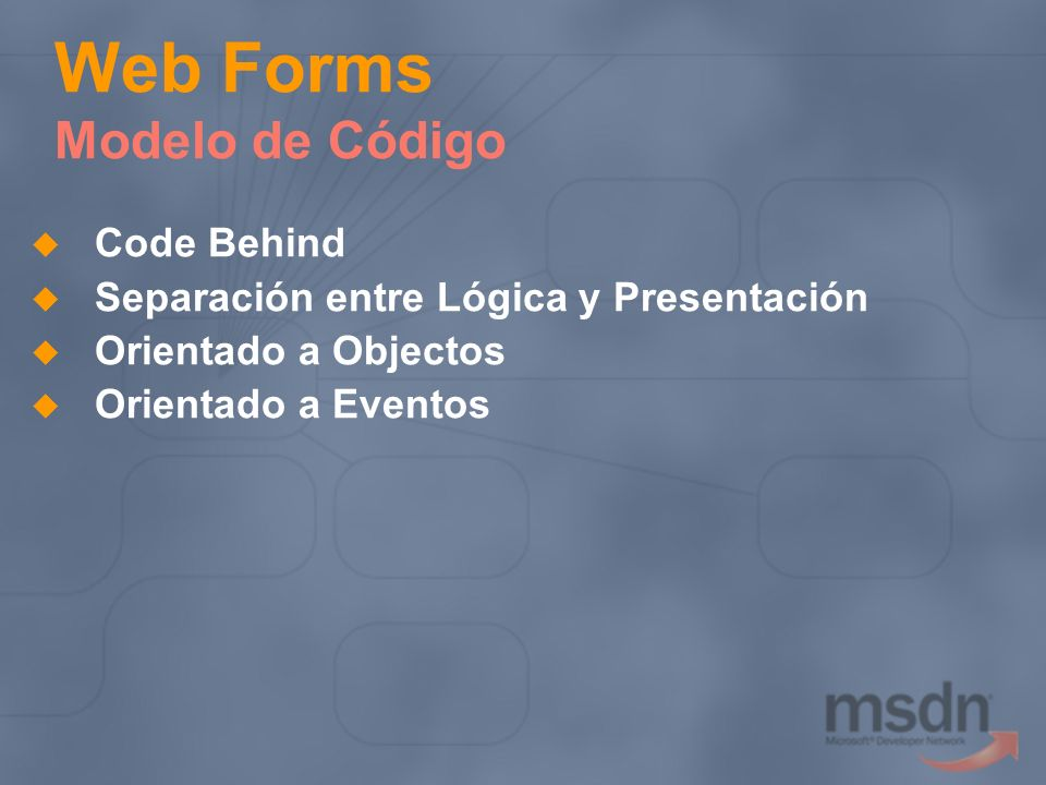 Web Forms Modelo de Código