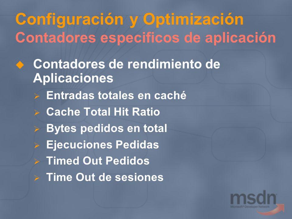 Configuración y Optimización Contadores especificos de aplicación