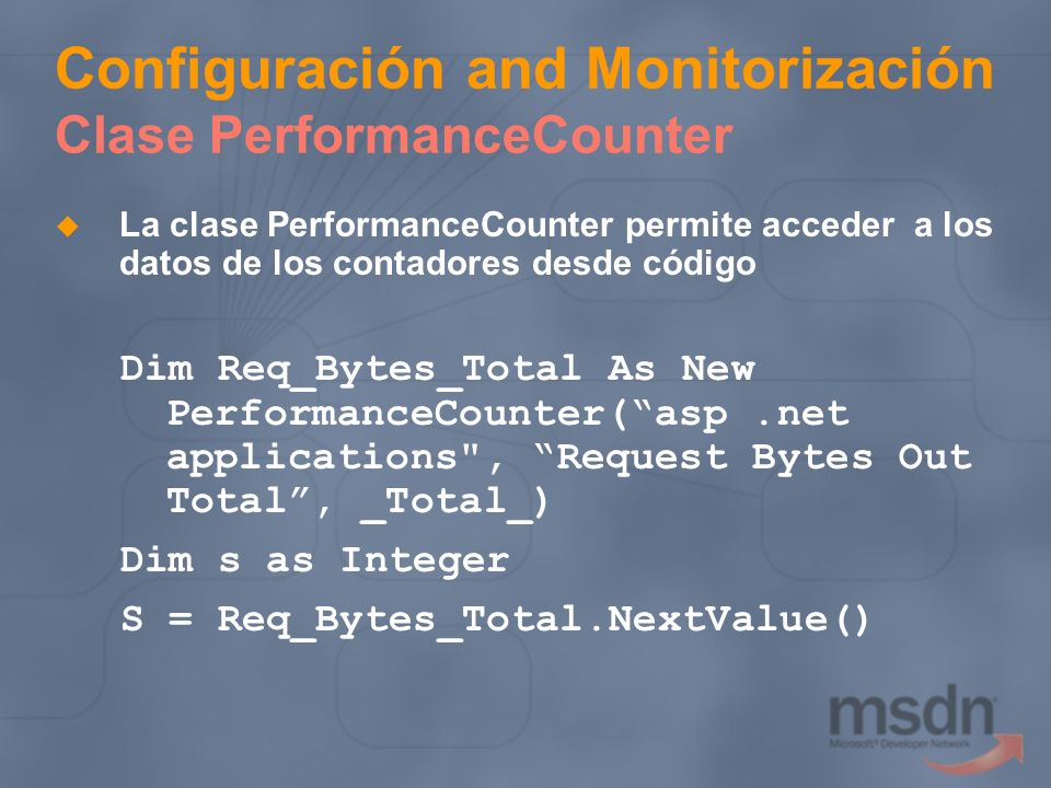 Configuración and Monitorización Clase PerformanceCounter