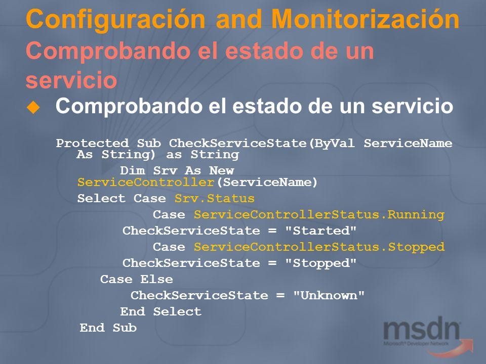 Configuración and Monitorización Comprobando el estado de un servicio