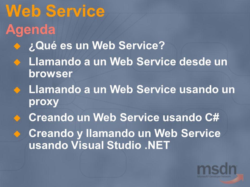 Web Service Agenda ¿Qué es un Web Service