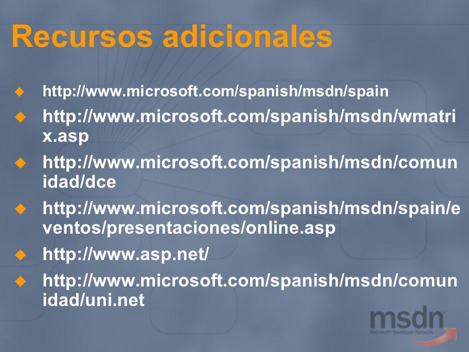 Recursos adicionales http://www.microsoft.com/spanish/msdn/wmatrix.asp