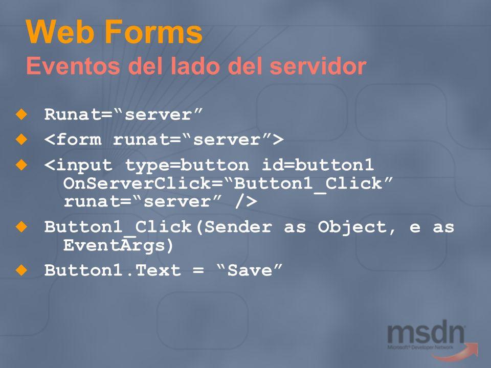 Web Forms Eventos del lado del servidor