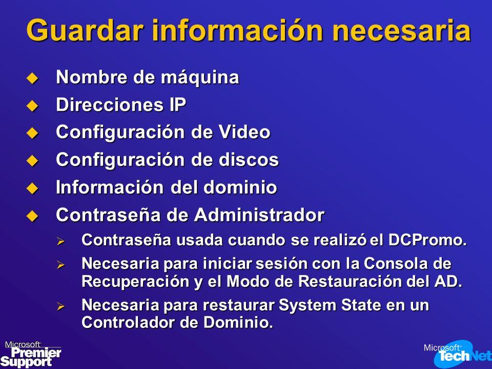 Guardar información necesaria
