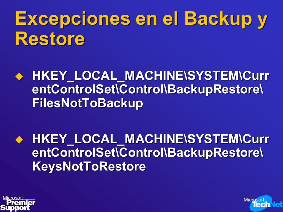 Excepciones en el Backup y Restore