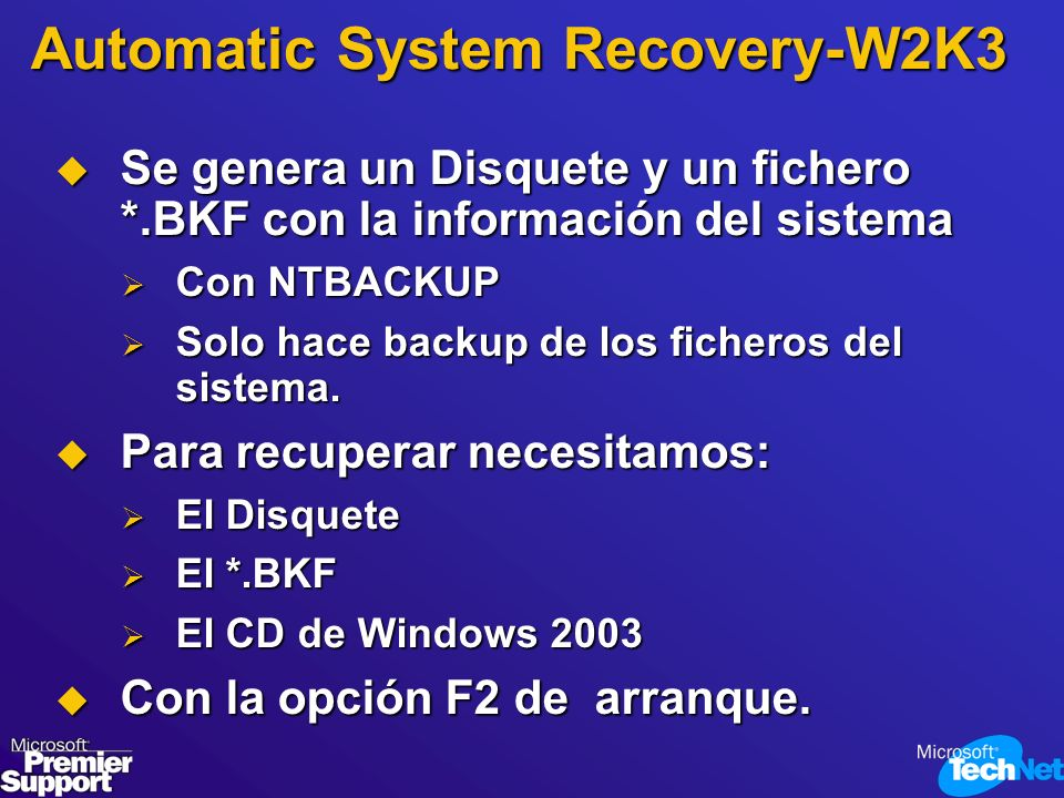 Automatic System Recovery-W2K3