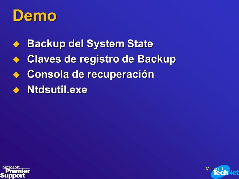 Demo Backup del System State Claves de registro de Backup