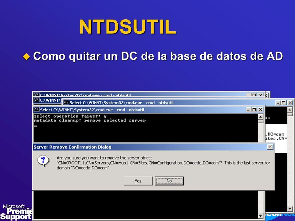 NTDSUTIL Como quitar un DC de la base de datos de AD