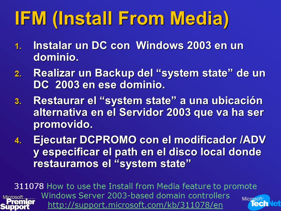 IFM (Install From Media)