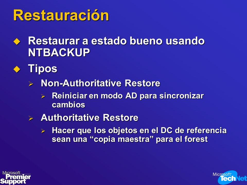 Restauración Restaurar a estado bueno usando NTBACKUP Tipos
