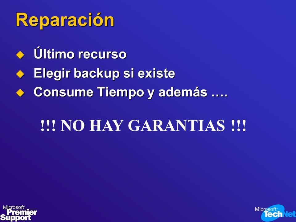 Reparación !!! NO HAY GARANTIAS !!! Último recurso