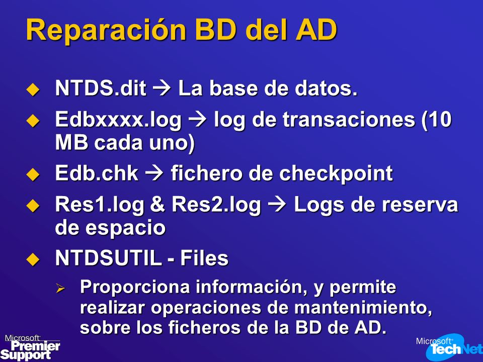 Reparación BD del AD NTDS.dit  La base de datos.