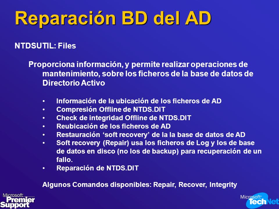 Reparación BD del AD NTDSUTIL: Files