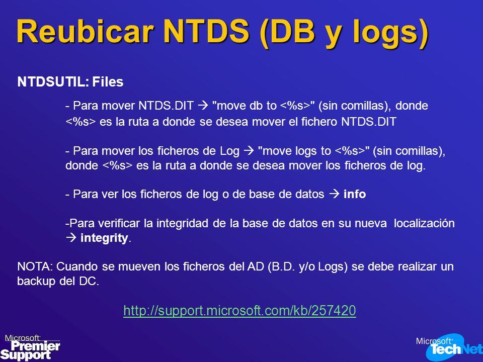 Reubicar NTDS (DB y logs)