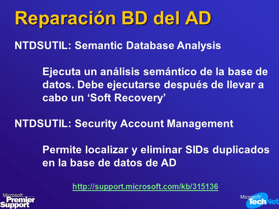 Reparación BD del AD NTDSUTIL: Semantic Database Analysis
