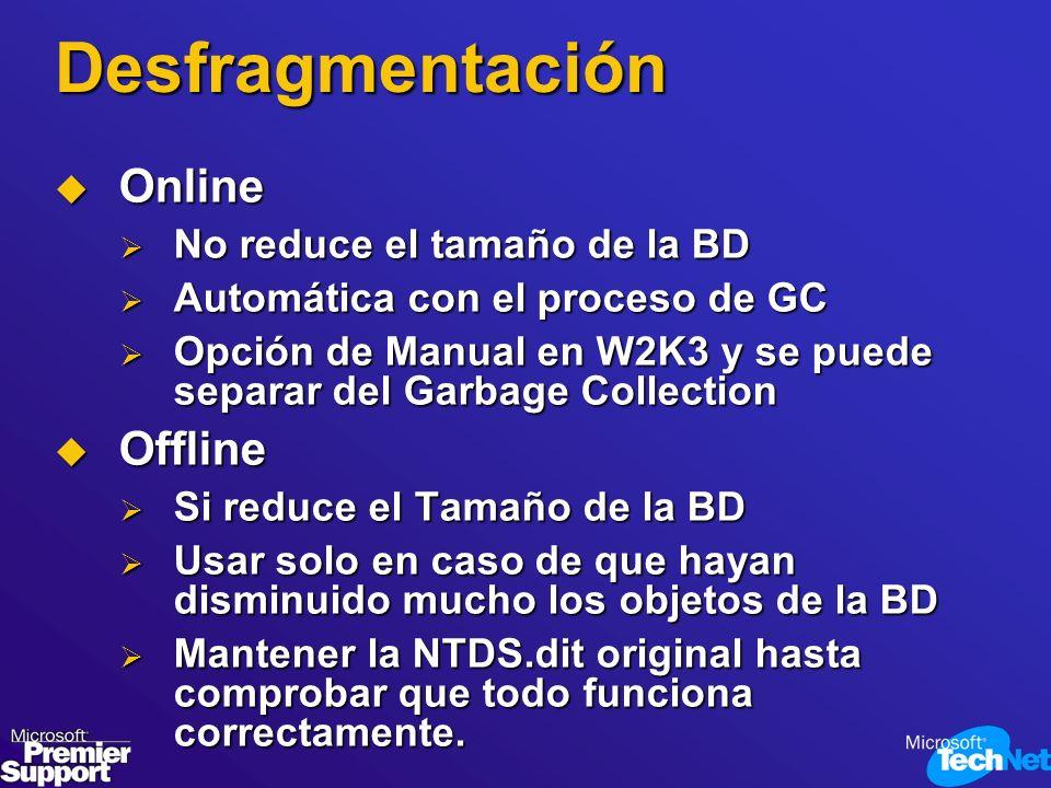 Desfragmentación Online Offline No reduce el tamaño de la BD