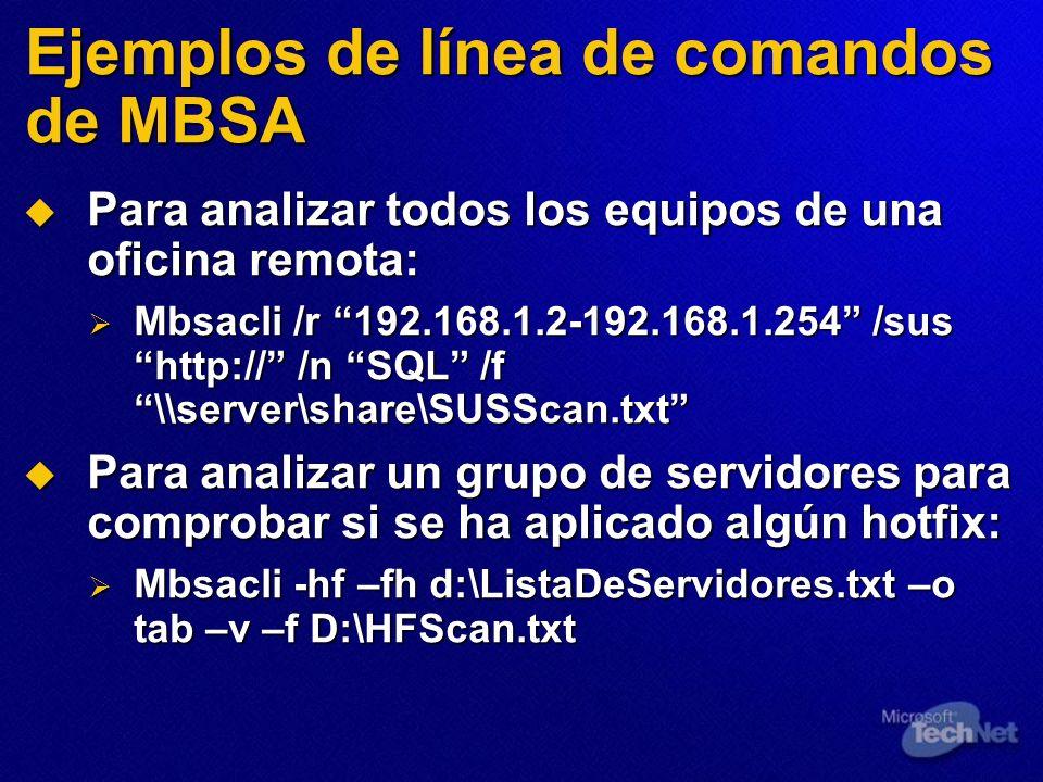 Ejemplos de línea de comandos de MBSA