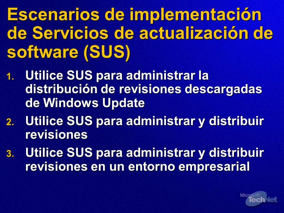 Escenarios de implementación de Servicios de actualización de software (SUS)
