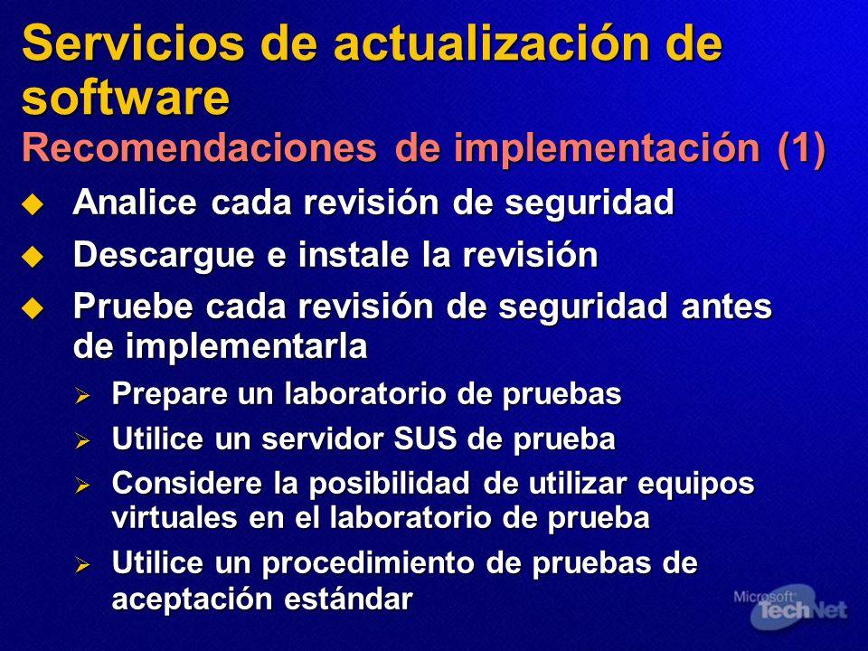 Servicios de actualización de software Recomendaciones de implementación (1)