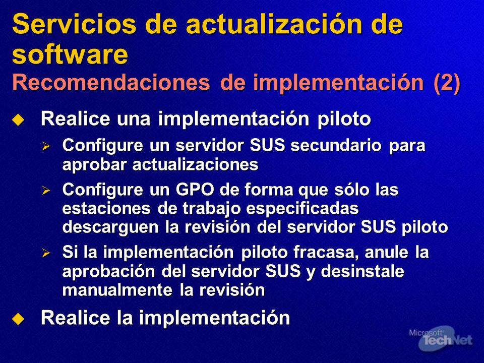 Servicios de actualización de software Recomendaciones de implementación (2)