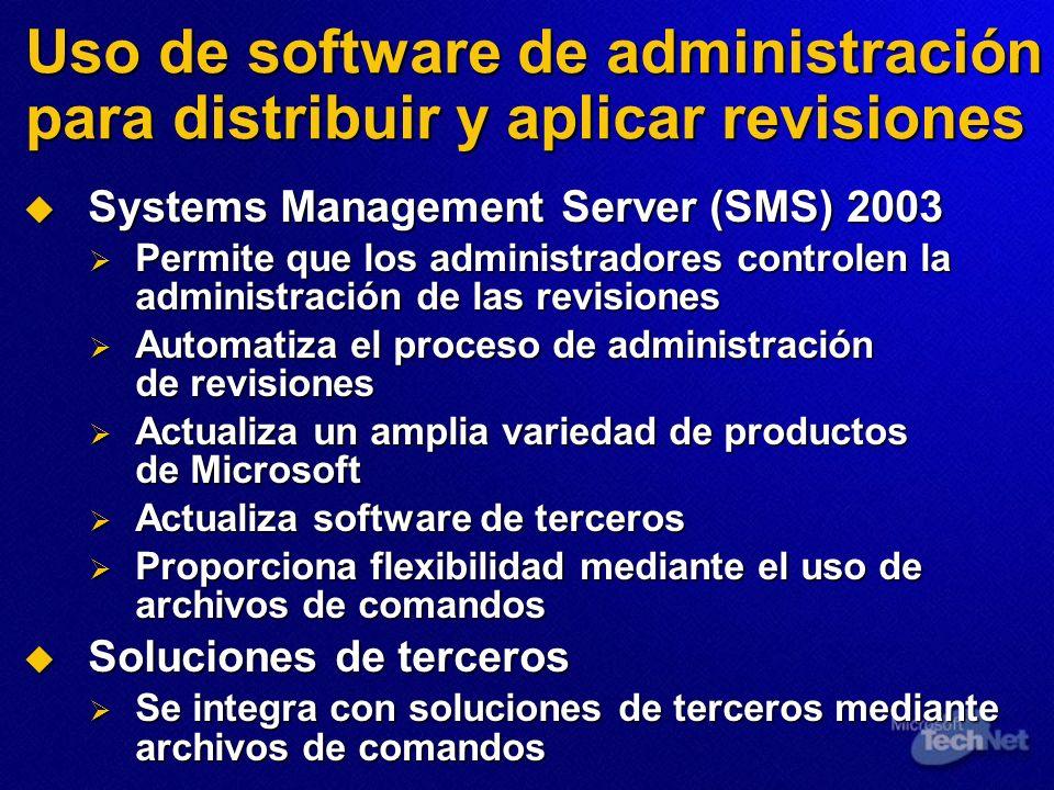 Uso de software de administración para distribuir y aplicar revisiones