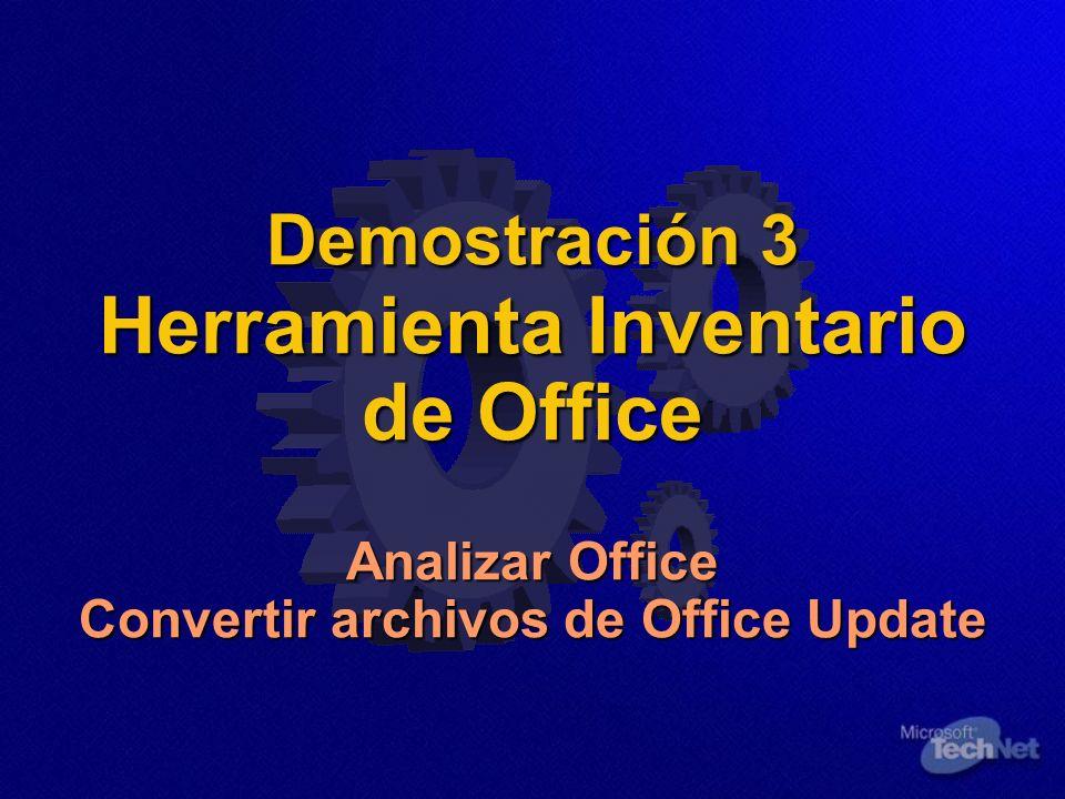 Demostración 3 Herramienta Inventario de Office Analizar Office Convertir archivos de Office Update