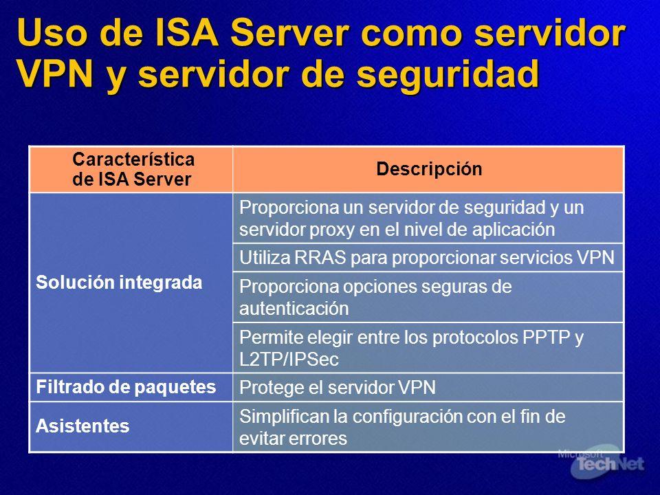 Uso de ISA Server como servidor VPN y servidor de seguridad