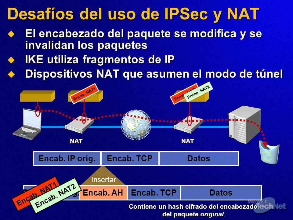 Desafíos del uso de IPSec y NAT