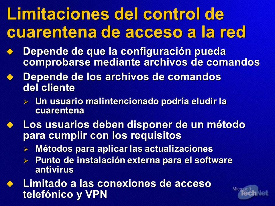 Limitaciones del control de cuarentena de acceso a la red