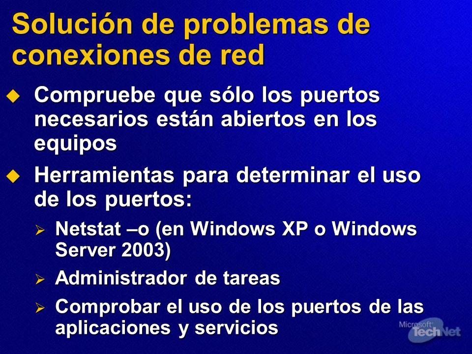 Solución de problemas de conexiones de red