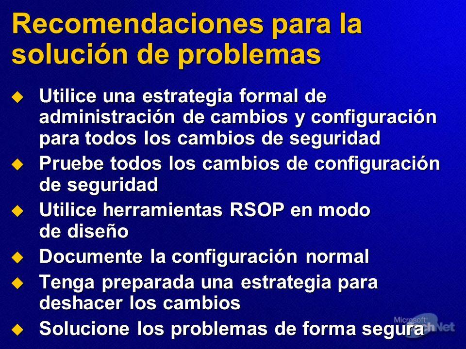 Recomendaciones para la solución de problemas