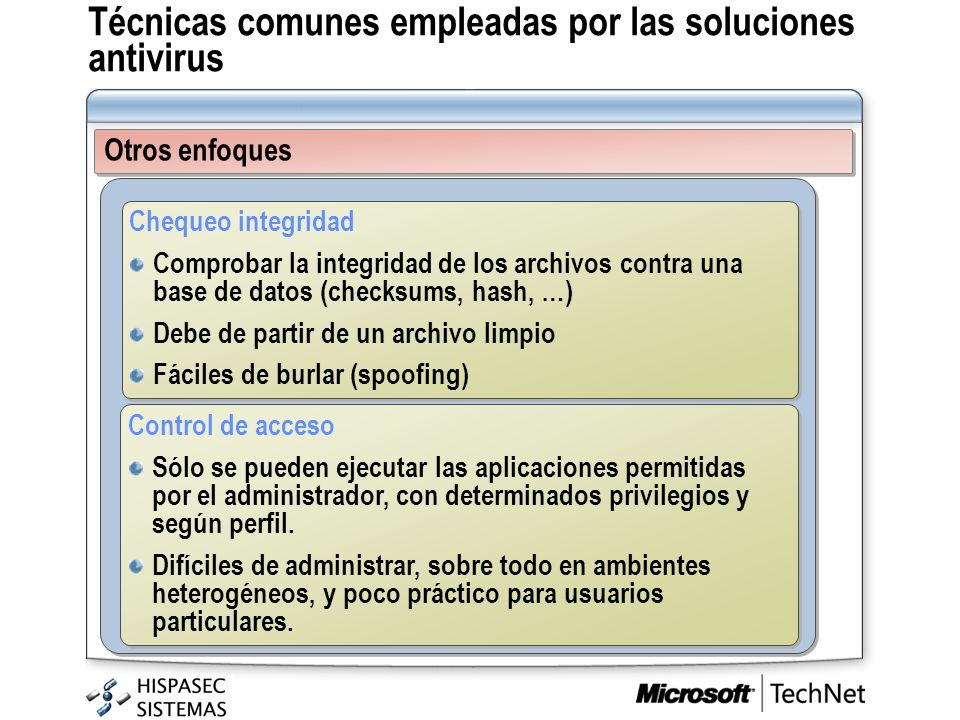 Técnicas comunes empleadas por las soluciones antivirus