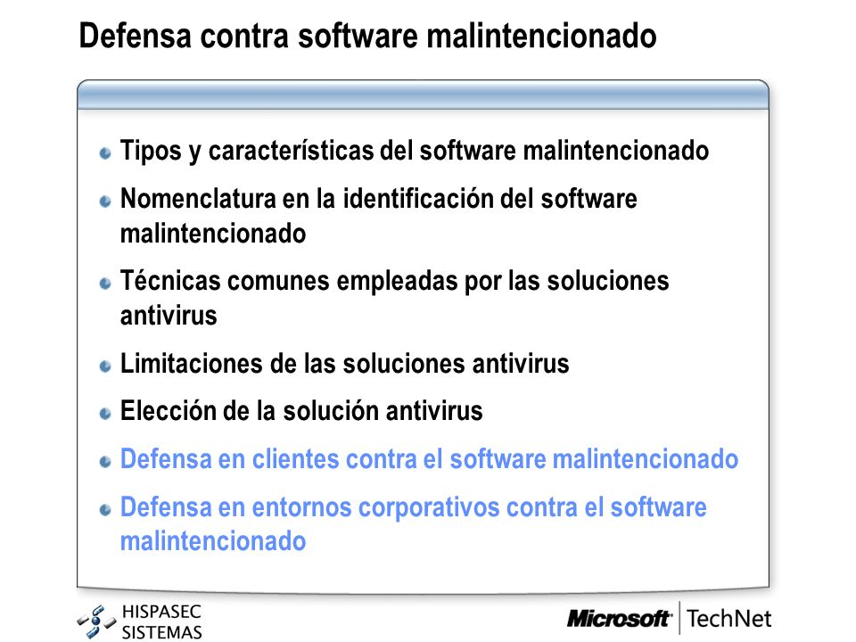 Defensa contra software malintencionado