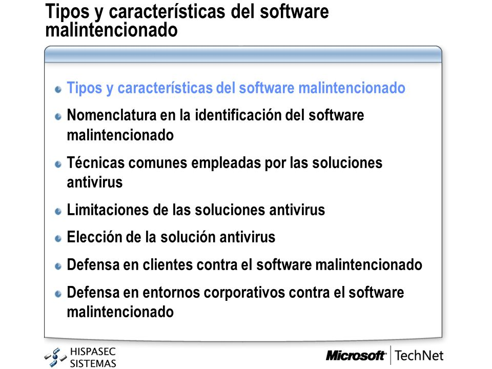 Tipos y características del software malintencionado