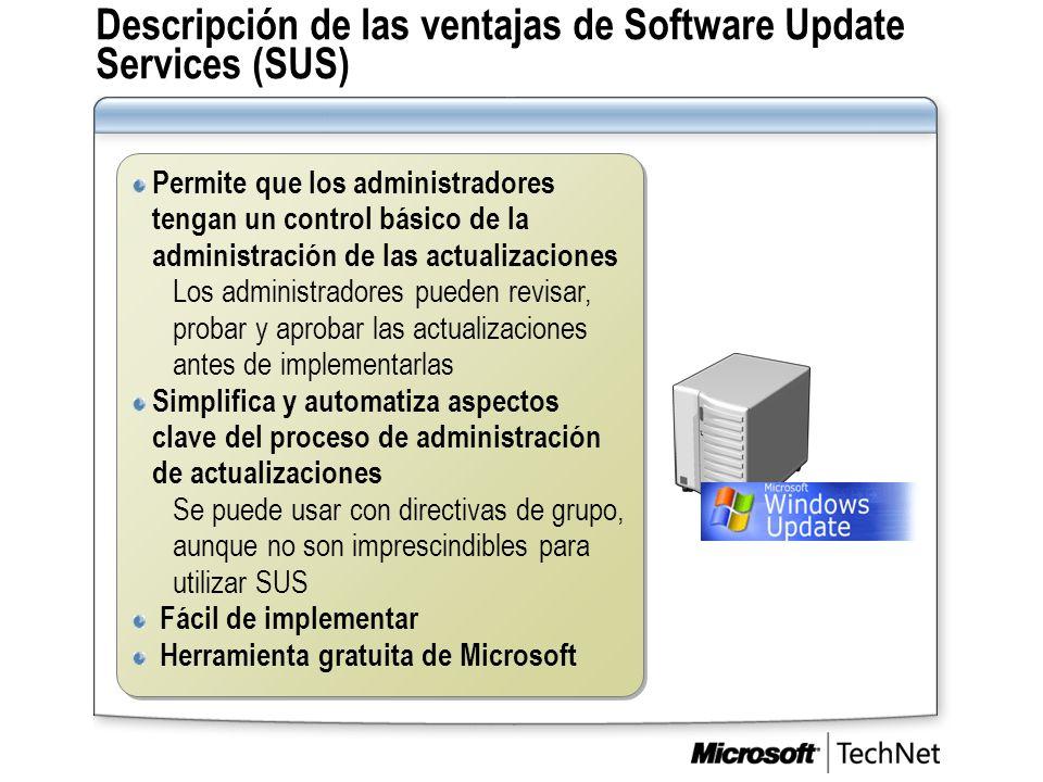 Descripción de las ventajas de Software Update Services (SUS)