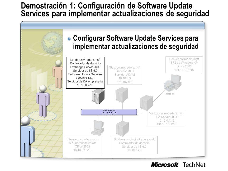 Demostración 1: Configuración de Software Update Services para implementar actualizaciones de seguridad