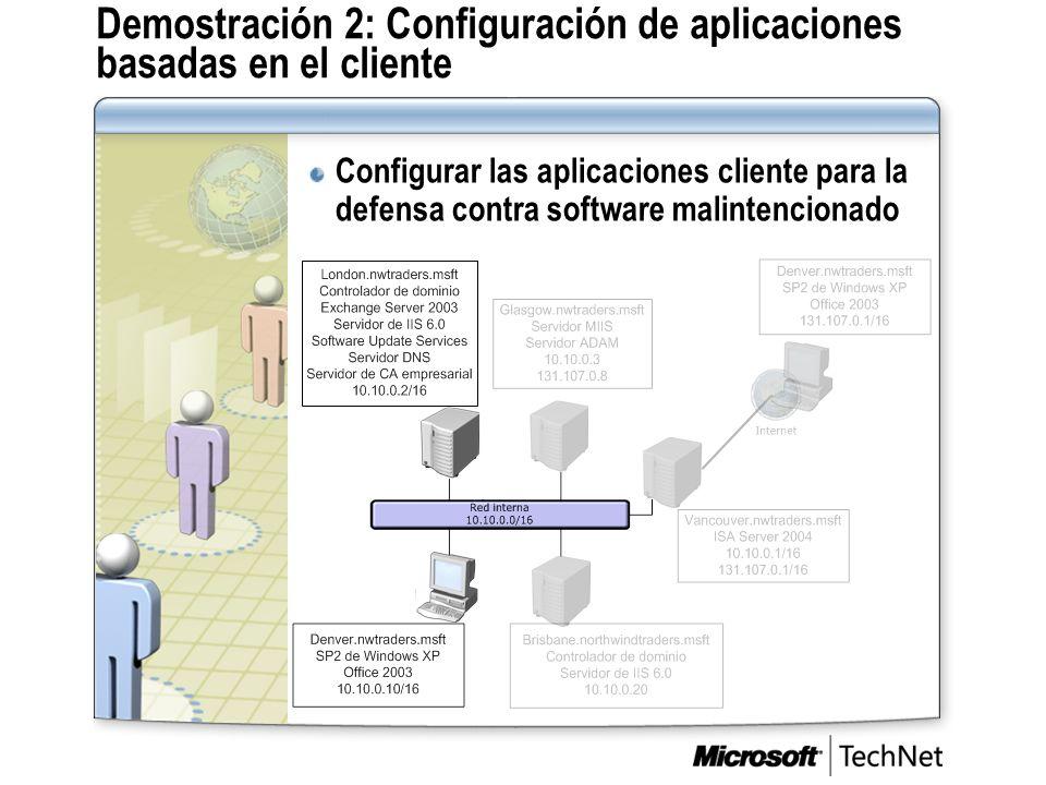Demostración 2: Configuración de aplicaciones basadas en el cliente