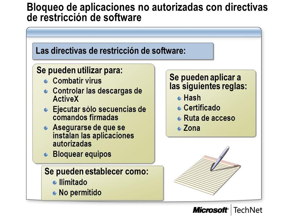 Bloqueo de aplicaciones no autorizadas con directivas de restricción de software