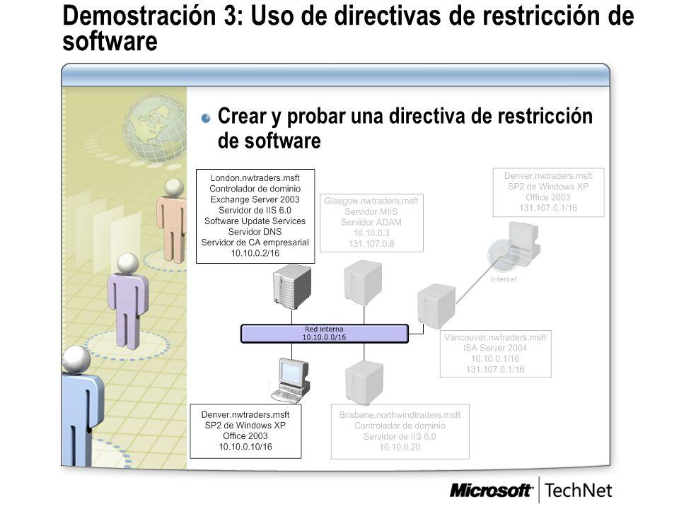 Demostración 3: Uso de directivas de restricción de software
