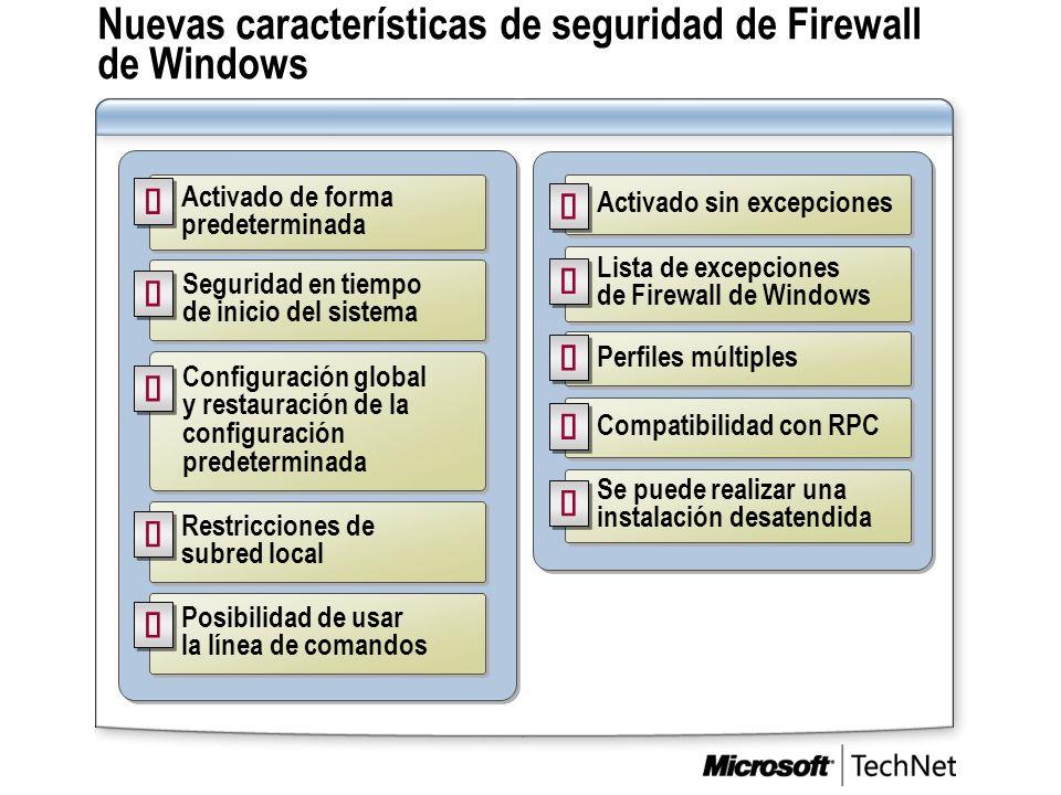 Nuevas características de seguridad de Firewall de Windows