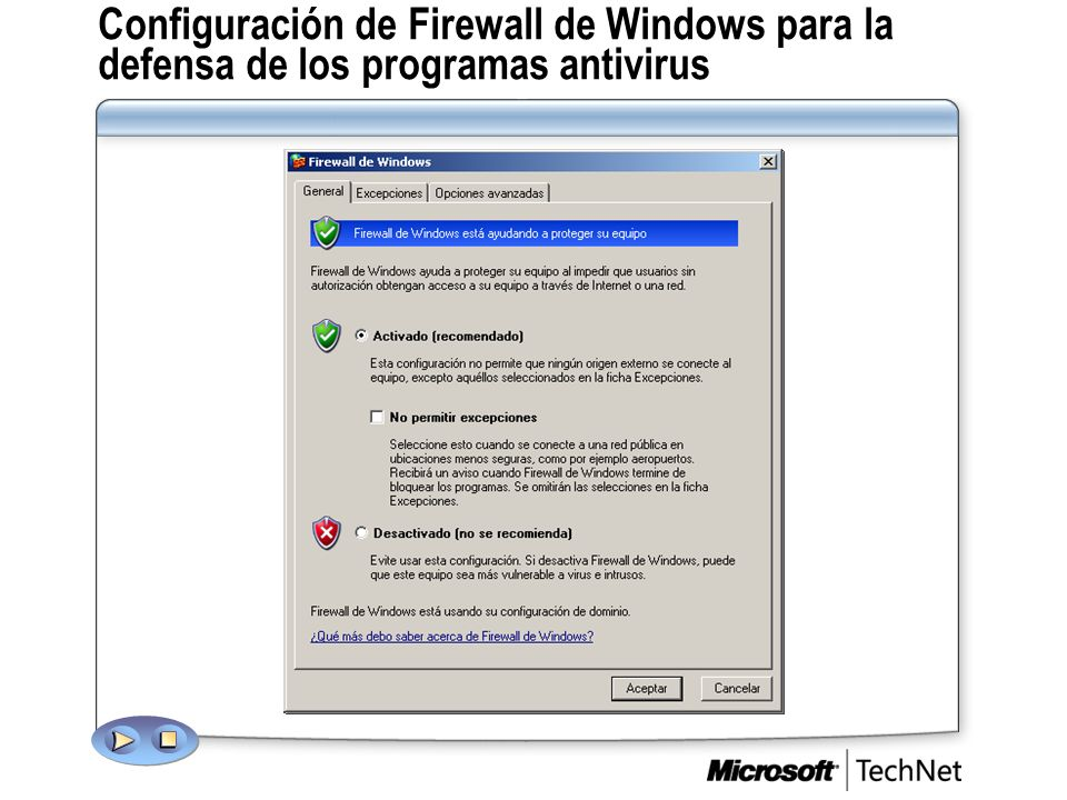 Configuración de Firewall de Windows para la defensa de los programas antivirus