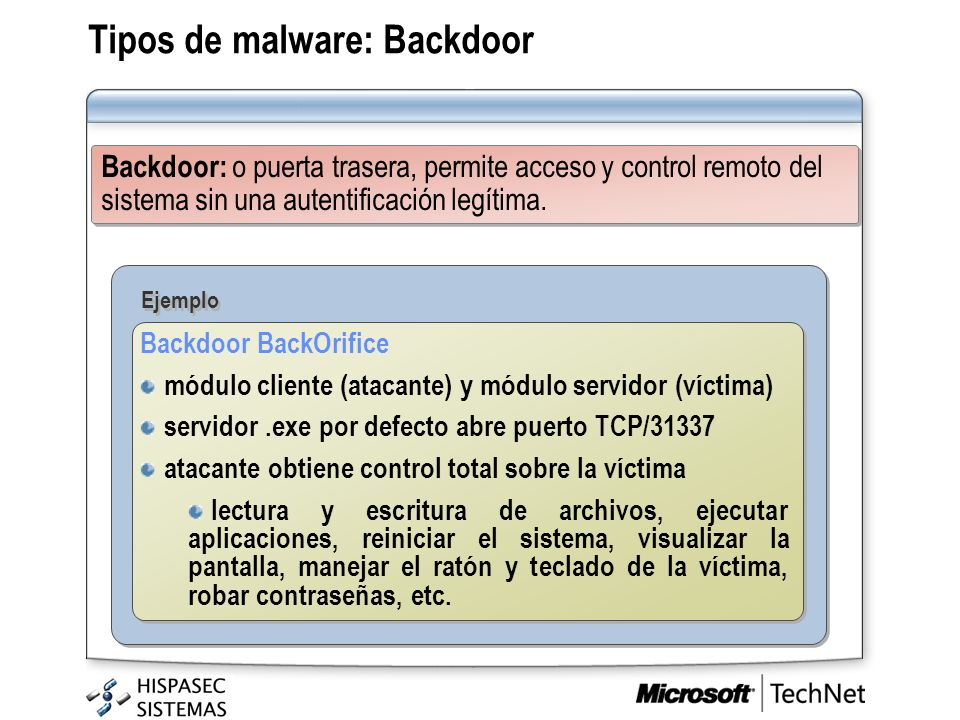 Tipos de malware: Backdoor