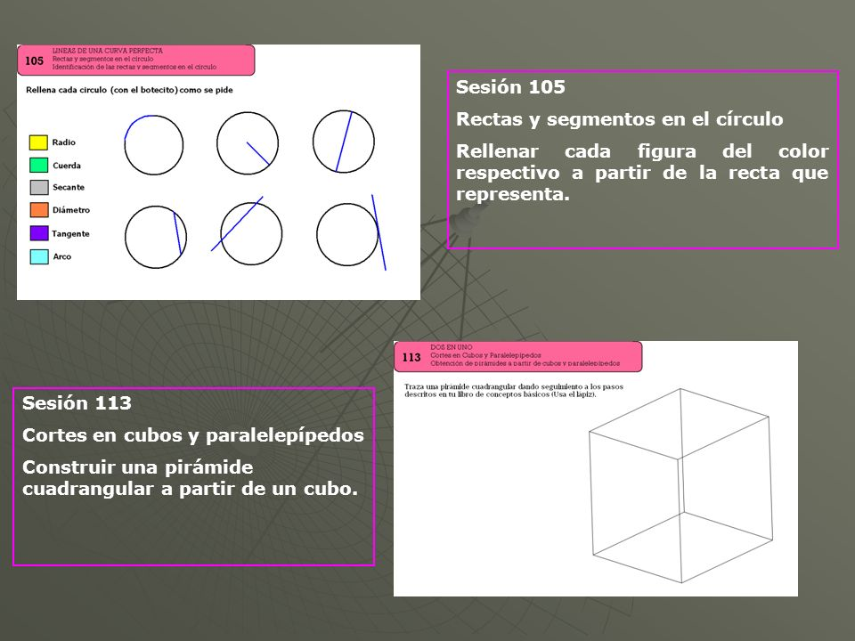 Sesión 105 Rectas y segmentos en el círculo. Rellenar cada figura del color respectivo a partir de la recta que representa.