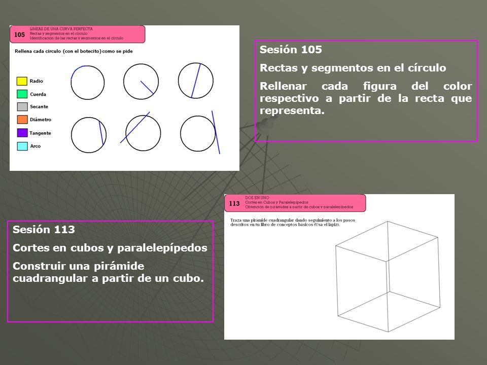 Sesión 105Rectas y segmentos en el círculo. Rellenar cada figura del color respectivo a partir de la recta que representa.
