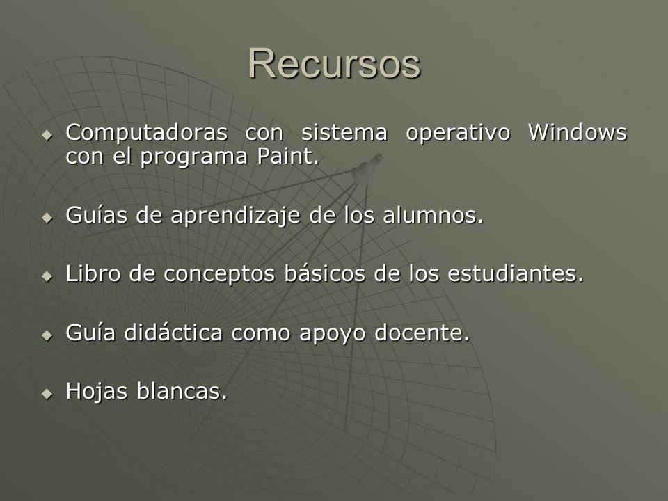 Recursos Computadoras con sistema operativo Windows con el programa Paint. Guías de aprendizaje de los alumnos.