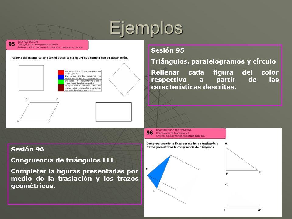 Ejemplos Sesión 95 Triángulos, paralelogramos y círculo